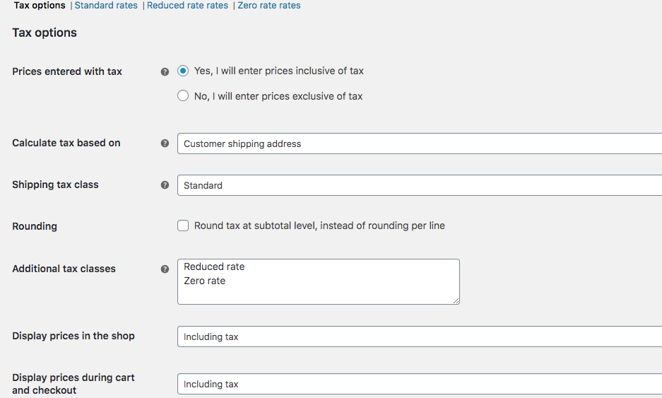 WooCommerce Tax Setting - Technologia Creativa